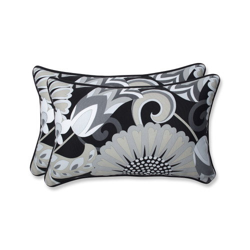 """Set of 2 Imperial Black and Gray Rectangular Floral Outdoor Throw Pillows 18.5"""" - IMAGE 1"""