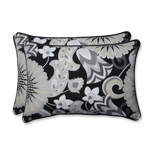 """Set of 2 Imperial Black and Gray Rectangular Floral Outdoor Throw Pillows 24.5"""" - IMAGE 1"""