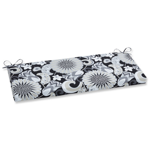 """45"""" Imperial Black and Gray Rectangular Floral Outdoor Patio Bench Cushion - IMAGE 1"""
