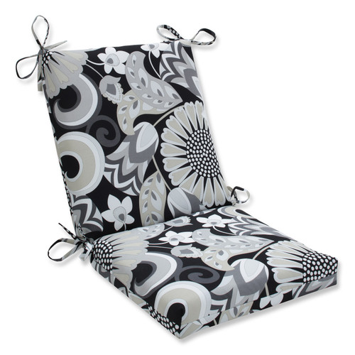 """36.5"""" Imperial Black and Gray Floral Outdoor Patio Rounded Chair Cushion - IMAGE 1"""