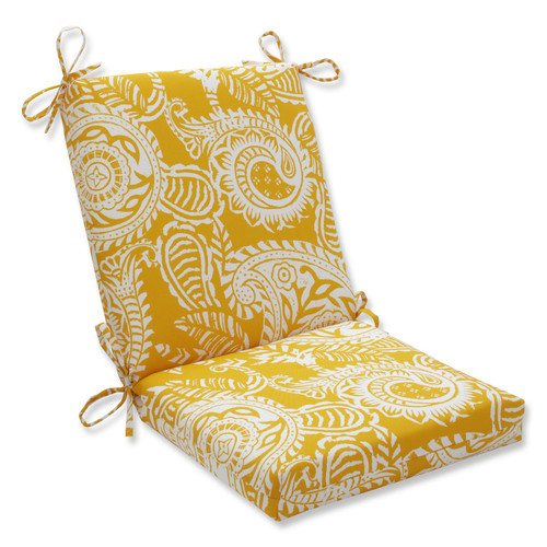 "36.5"" Addie Yellow and White Paisley Squared Outdoor Patio Chair Cushion - IMAGE 1"