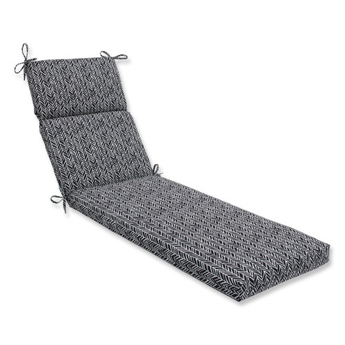 """72.5"""" Black and Pearly White Chaise Lounge Cushion - IMAGE 1"""