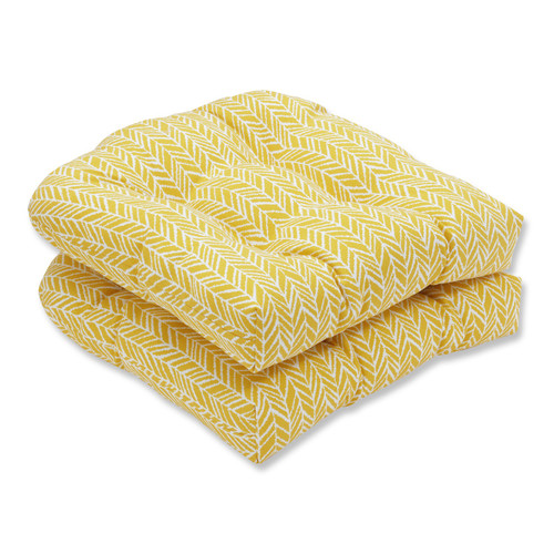 "Set of 2 Yellow and White Outdoor Patio Seat Cushion 19"" - IMAGE 1"