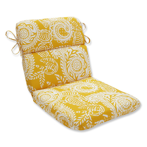 """40.5"""" Addie Yellow and White Paisley Outdoor Patio Rounded Chair Cushion - IMAGE 1"""