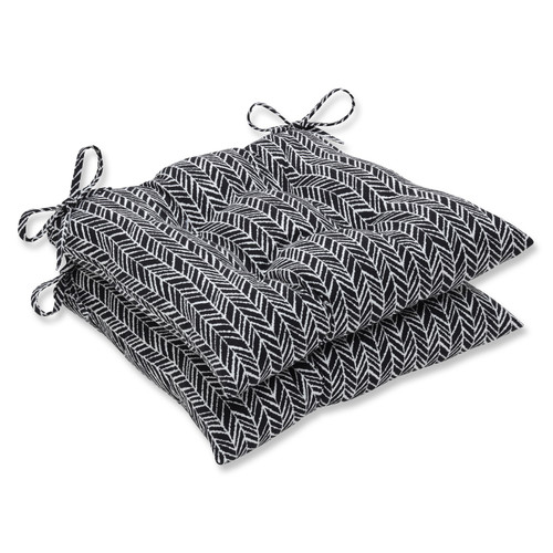"""Set of 2 Black and Pearly White Wicker Seat Cushion 19"""" - IMAGE 1"""