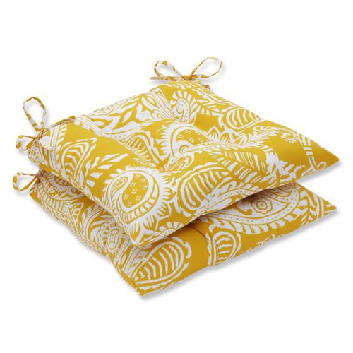 """Set of 2 Addie Yellow and White Paisley Square Outdoor Seat Cushions 19"""" - IMAGE 1"""