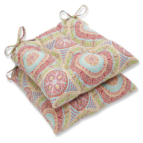 """Set of 2 Red and Blue Exotic Swirls Seat Cushion 19"""" - IMAGE 1"""