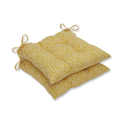 "Set of 2 Yellow and White Herringbone Square Outdoor Seat Cushions 19"" - IMAGE 1"