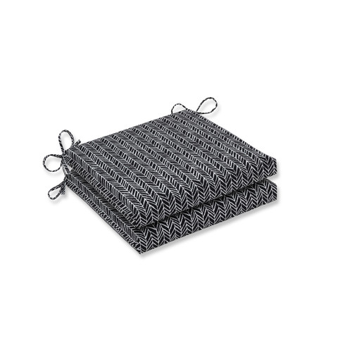 "Set of 2 Black and White Herringbone Night Squared Chair Cushions 20"" - IMAGE 1"
