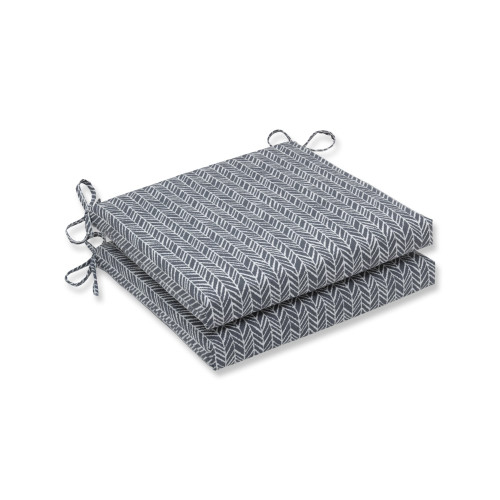 """Set of 2 Simplistic Nature Stone Gray and Pearly White Squared Corners Seat Cushions 20"""" - IMAGE 1"""