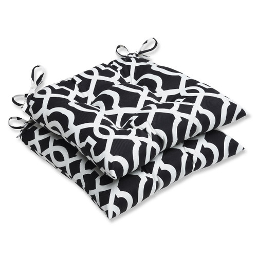"""Set of 2 Black and White Outdoor Tufted Patio Chair Cushions 19"""" - IMAGE 1"""