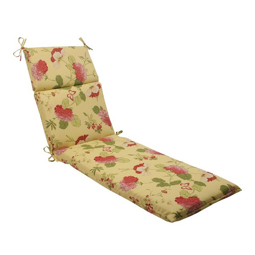 "72.5"" Solarium Bashful Blossom Outdoor Patio Furniture Chaise Lounge Cushion - IMAGE 1"