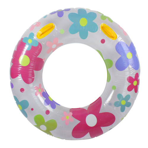 """42"""" Inflatable White and Pink Floral Swimming Pool Inner Tube - IMAGE 1"""