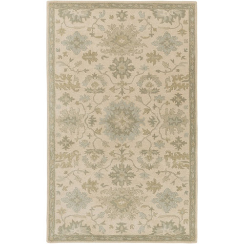 10' x 14' Gray and Green Traditional Hand Tufted Rectangular Area Throw Rug - IMAGE 1