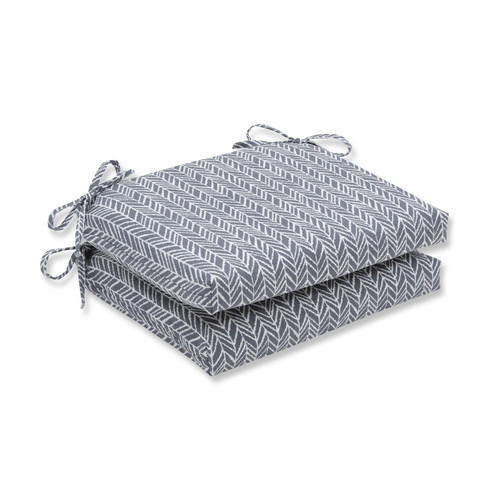 """Set of 2 Gray and Pearly White Outdoor Patio Seat Cushion 18.5"""" - IMAGE 1"""