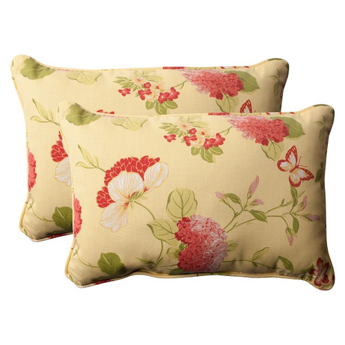 """Set of 2 Brown Solarium Bashful Blossom Outdoor Corded Rectangle Throw Pillows 24.5"""" - IMAGE 1"""