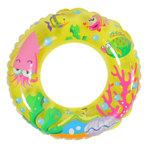 Inflatable Yellow Sea Fish Children's Swimming Pool Inner Tube Ring Float, 24-Inch - IMAGE 1