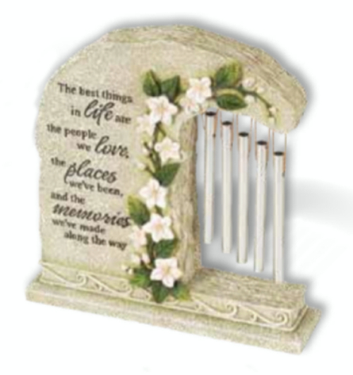 """8.5"""" Religious Memorial Outdoor Garden Stone with Flowers and Wine Chimes - IMAGE 1"""