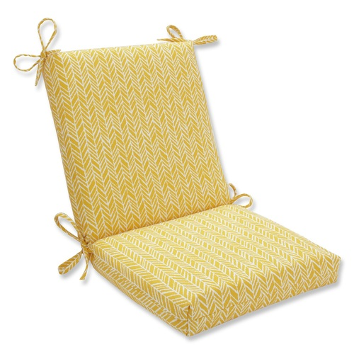 """36.5"""" Buttercup Yellow Herringbone Outdoor Patio Squared Chair Cushion - IMAGE 1"""