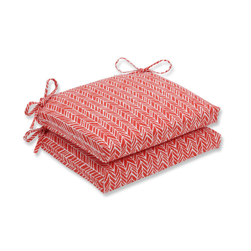 """Set of 2 Red and White Outdoor Patio Seat Cushion 18.5"""" - IMAGE 1"""