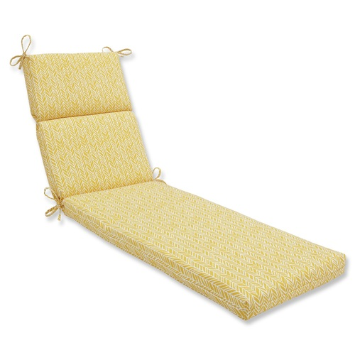 "72.5"" Yellow and White Paisley Rectangular Outdoor Patio Chaise Lounge Cushion - IMAGE 1"