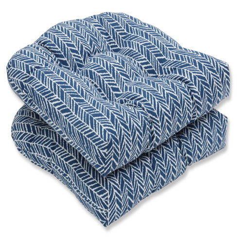 """Set of Two Inky Blue and Pearly White Wicker Seat Cushions 19"""" - IMAGE 1"""
