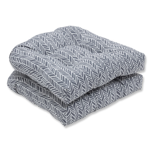 """Set of 2 Gray and Pearly White Wicker Seat Cushion 19"""" - IMAGE 1"""