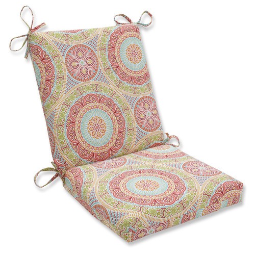 """36.5"""" Red and Blue Outdoor Patio Chair Cushion with Ties - IMAGE 1"""