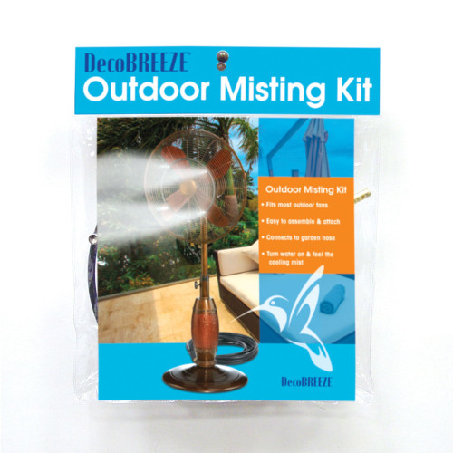"""13"""" Black and Clear Outdoor Patio Fan Misting Kit - IMAGE 1"""
