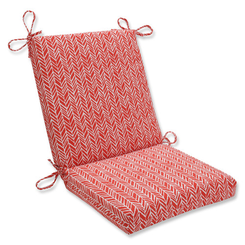 """36.5"""" Red and White Outdoor Patio Chair Cushion with Ties - IMAGE 1"""