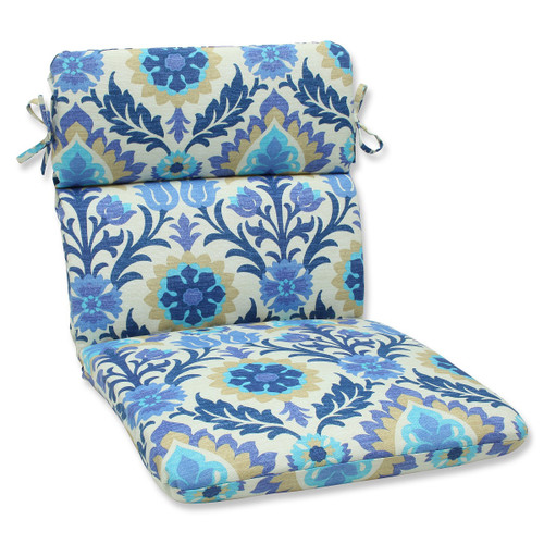 """40.5"""" Blue and White Damask Outdoor Patio Rounded Chair Cushion - IMAGE 1"""
