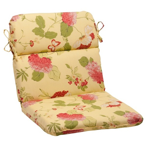 """40.5"""" Brown Solarium Bashful Blossom Outdoor Patio Furniture Rounded Chair Cushion - IMAGE 1"""