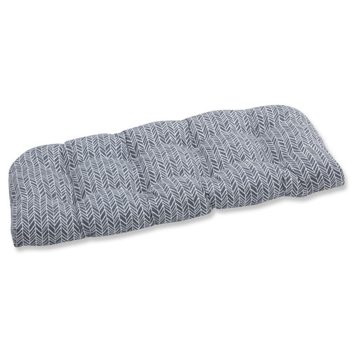 """44"""" Gray and Pearly White Wicker Loveseat Cushion - IMAGE 1"""