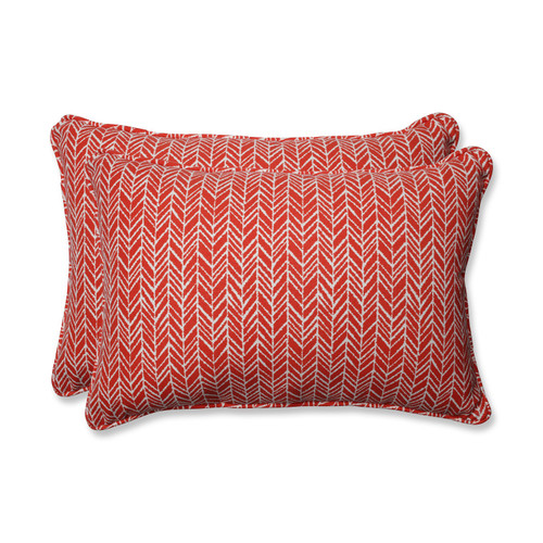 """Set of 2 Red and Pearly White Corded Throw Pillow 24.5"""" - IMAGE 1"""