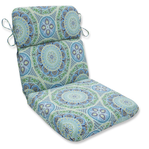 """40.5"""" Blue and Green Lagoon Outdoor Patio Chair Cushion - IMAGE 1"""