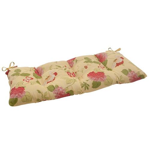 "44"" Solarium Bashful Blossom Outdoor Patio Furniture Tufted Loveseat Cushion - IMAGE 1"