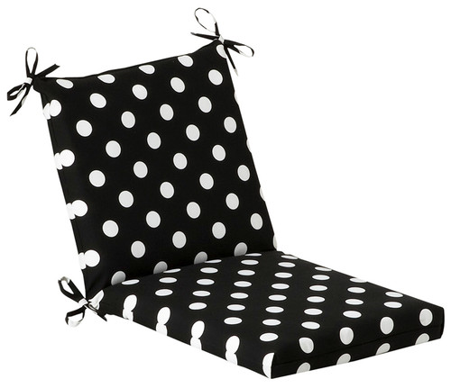 """Black and White Polka Outdoor Patio Furniture Corner Chair Cushion 36.5"""" - IMAGE 1"""