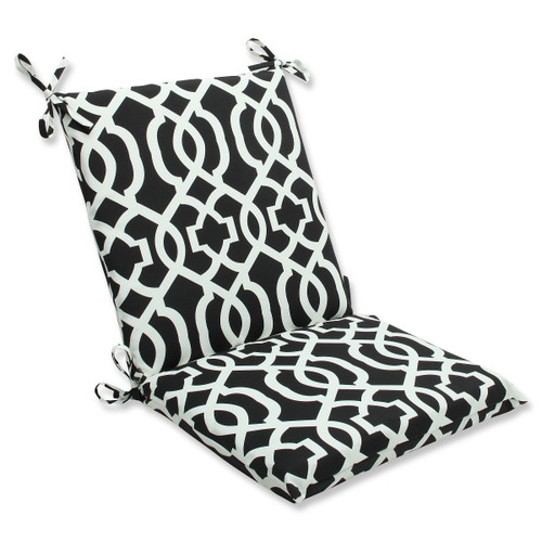 """36.5"""" Black and White Geometric Outdoor Patio Squared Chair Cushion - IMAGE 1"""
