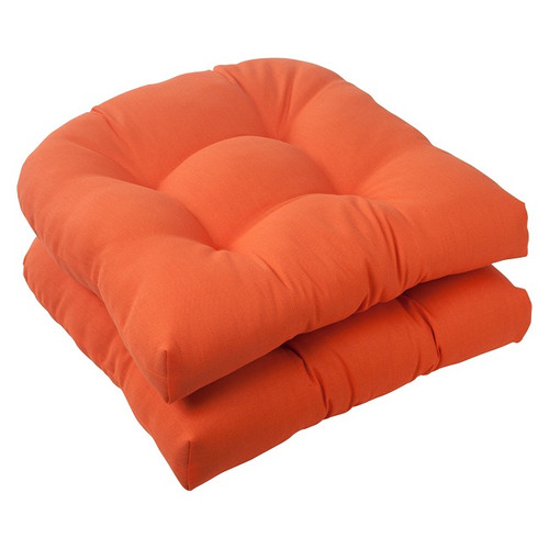 "Set of 2 Orange Outdoor Patio Tufted Wicker Seat Cushions 19"" - IMAGE 1"