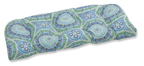 """44"""" Blue and Green Lagoon Outdoor Patio Tufted Loveseat Cushion - IMAGE 1"""