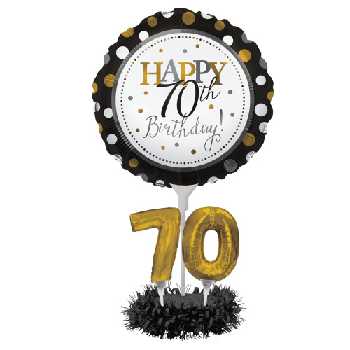 """Pack of 4 Black and Gold """"Happy 70th Birthday"""" Party Balloon Centerpiece Kit 24"""" - IMAGE 1"""