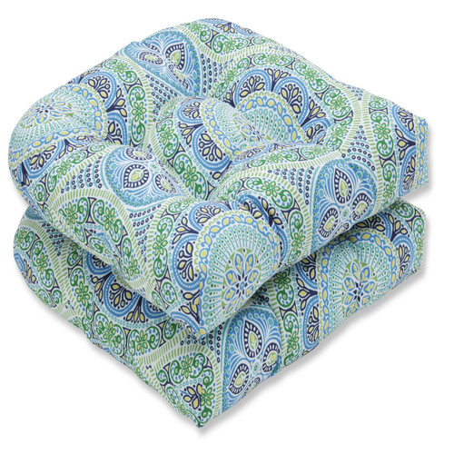 """Set of 2 Blue and Green Lagoon Wicker Seat Cushion 19"""" - IMAGE 1"""