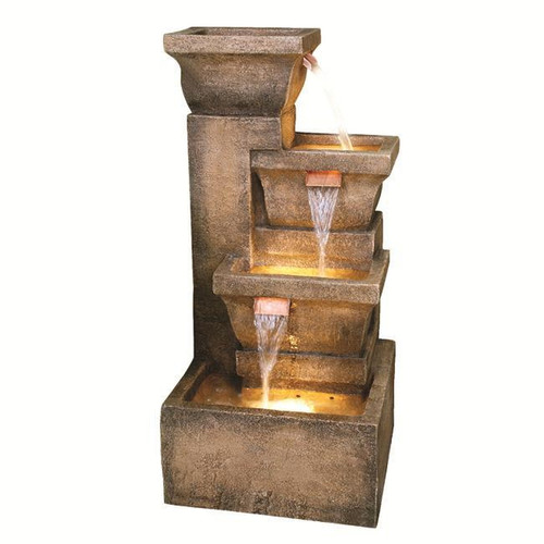 """33"""" Lighted Rustic Weathered Outdoor Garden Water Fountain - IMAGE 1"""