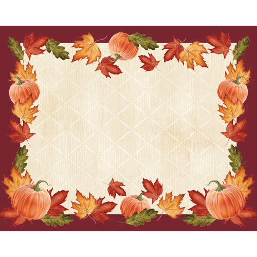 """Club Pack of 144 Orange Pumpkins and Leaves Disposable Table Placemats 15"""" - IMAGE 1"""