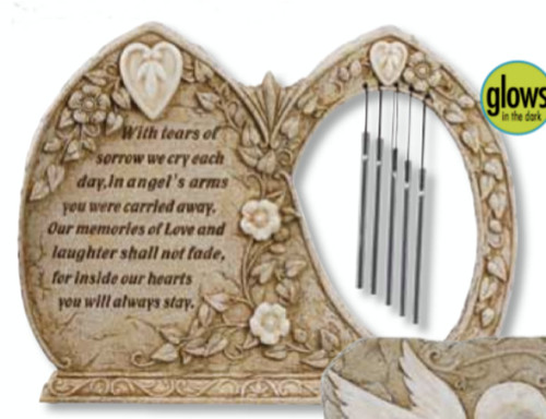 """13"""" Luminous Garden Religious Outdoor Cemetery Memorial Stone with Wind Chimes - IMAGE 1"""