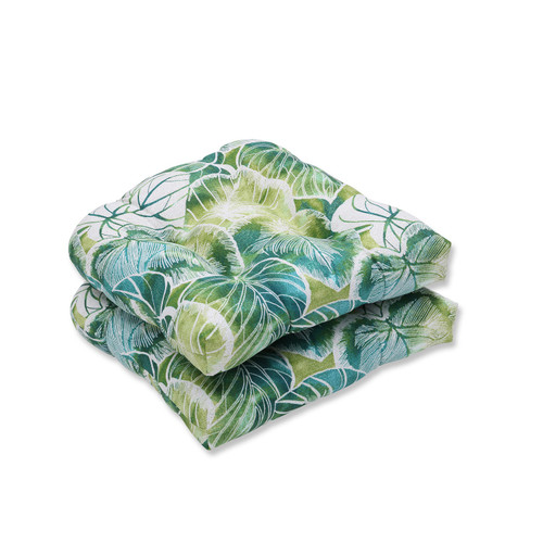 """Set of 2 Green and Blue Tropical Tufted Outdoor Patio Seat Cushion with Ties 19"""" - IMAGE 1"""