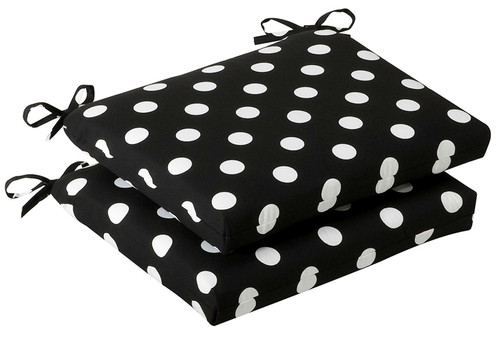 """Set of 2 Black and White Polka Dot Outdoor Patio Furniture Chair Seat Cushions 18.5"""" - IMAGE 1"""