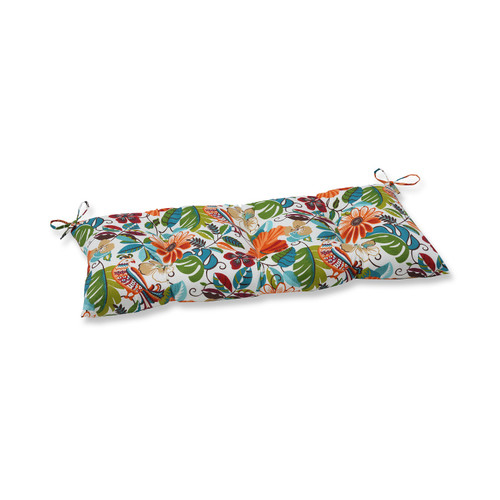 """44"""" Blue and Orange Floral Rectangular Outdoor Patio Bench Cushion - IMAGE 1"""
