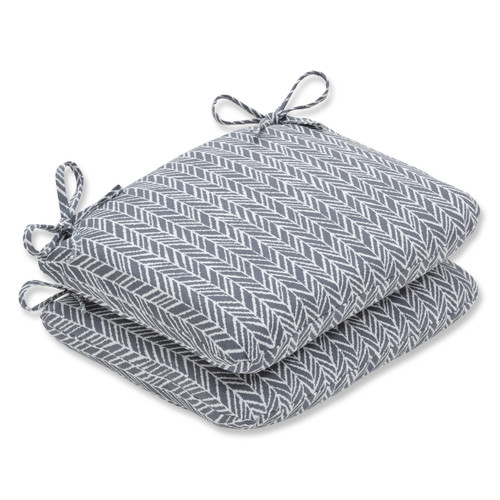 """Set of 2 Stone Gray and Pearly White Seat Cushion 18.5"""" - IMAGE 1"""
