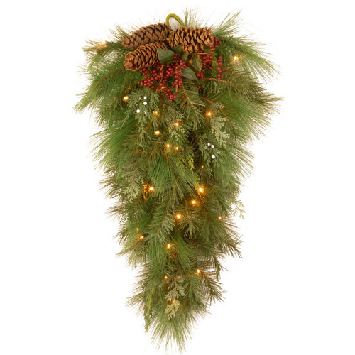 """28"""" Pre-lit Battery-Operated White Pine Artificial Christmas Teardrop Swag - Warm Clear LED Lights - IMAGE 1"""